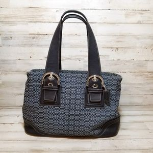 Coach Navy Soho Satchel/Tote Mini Signature